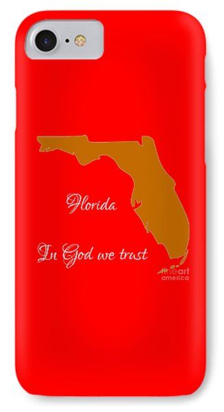 Florida Map In State Colors Orange Red And White With State Motto In God We Trust  Phone Case by Rose Santuci-Sofranko