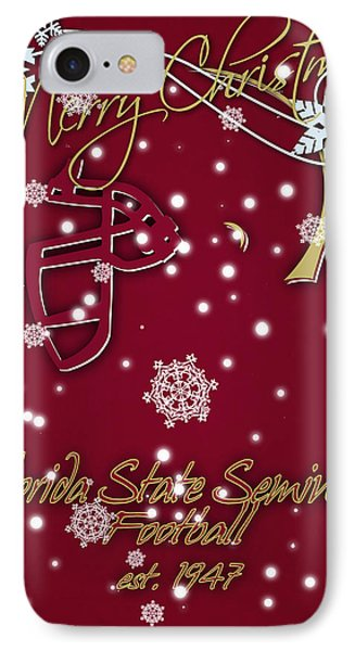 Florida State Seminoles Christmas Card IPhone Case by Joe Hamilton
