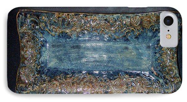Flourish Slab Tray Licorice Glaze Phone Case by Carolyn Coffey Wallace