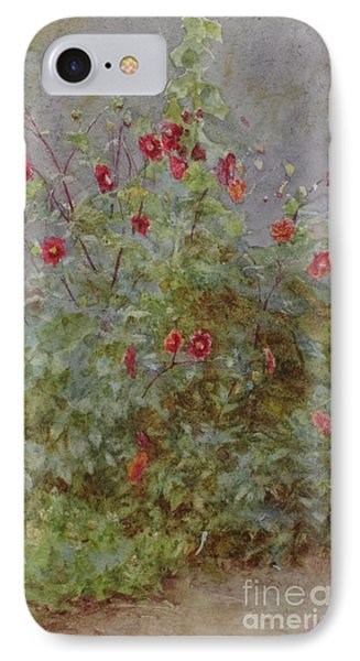 Flower Border, Hollyhock And Dahlias  IPhone Case