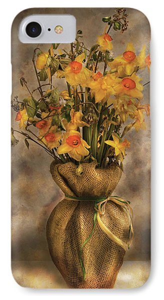Flower - Daffodils In A Burlap Vase Phone Case by Mike Savad