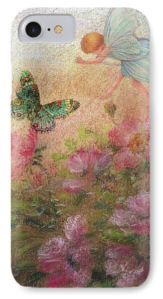IPhone Case featuring the painting Flower Fairy Butterfly Roses by Judith Cheng