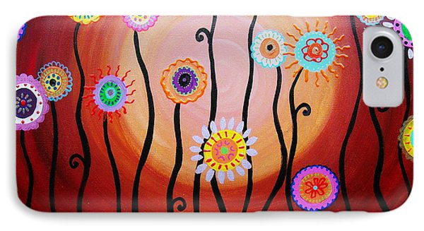IPhone Case featuring the painting Flower Fest by Pristine Cartera Turkus