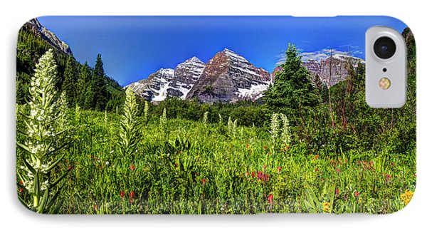 Flower-filled Meadow At Maroon Bells IPhone Case by Jean Hutchison