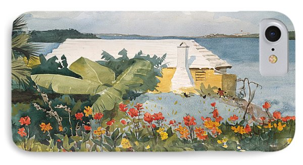 Flower Garden And Bungalow, Bermuda, 1899  IPhone Case by Winslow Homer