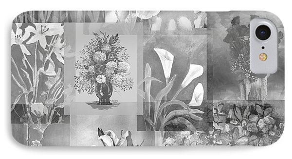 Flower Montage In Shades Of Gray IPhone Case