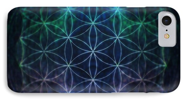 Flower Of Life Neon IPhone Case by Edouard Coleman