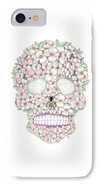 Flower Sugar Skull IPhone Case by Stephanie Troxell