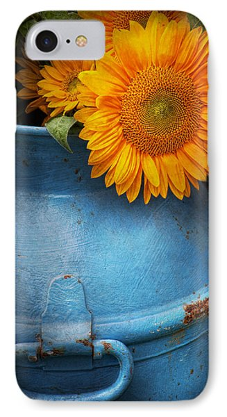 Flower - Sunflower - Little Blue Sunshine  Phone Case by Mike Savad