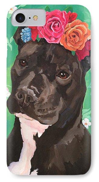 Flower The Pitbull Phone Case by Elisa Bolanos