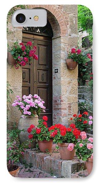 Flowered Montechiello Door IPhone Case by Donna Corless