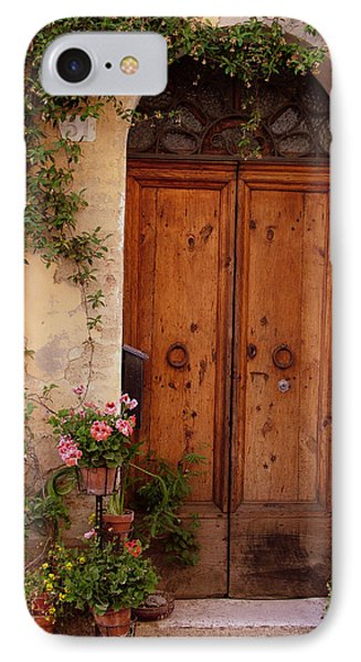 Flowered Tuscan Door IPhone Case by Donna Corless