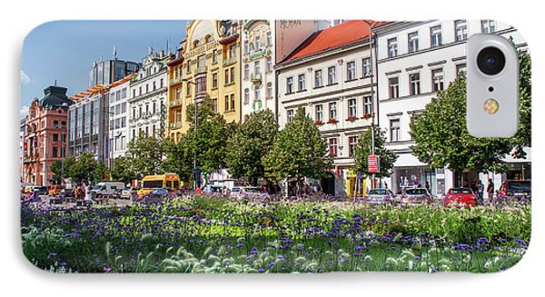 IPhone Case featuring the photograph Flowering Wenceslas Square In Prague by Jenny Rainbow