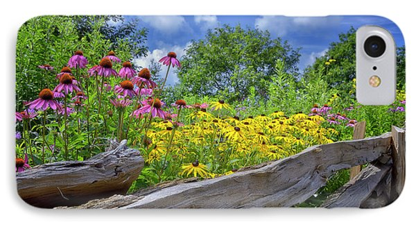 Flowers Along A Wooden Fence IPhone Case by Steve Hurt