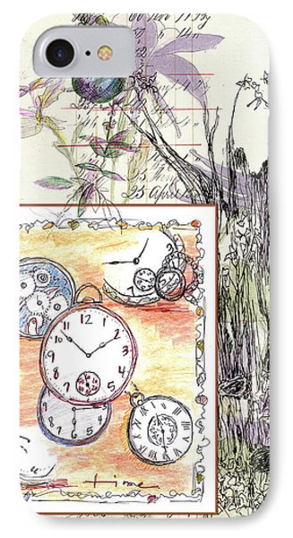 IPhone Case featuring the drawing Flowers And Time by Cathie Richardson