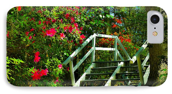 Flowers Bloom Alongside Magnolia Plantation Bridge - Charleston Sc IPhone Case