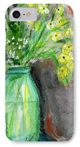 Flowers In A Green Jar- Art By Linda Woods IPhone Case by Linda Woods