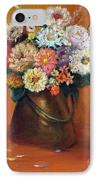 IPhone Case featuring the painting Flowers In A Metal Vase  by Marlene Book