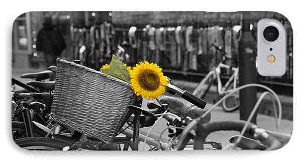 Flowers In Bike IPhone Case by David Warrington