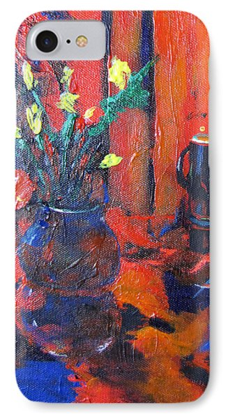 IPhone Case featuring the painting Flowers In Blue Vase by Gary Smith
