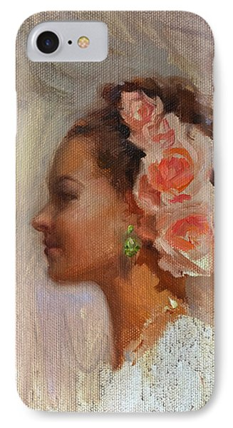 Pretty Flowers - Impressionistic Portrait Of Young Woman IPhone Case by Karen Whitworth