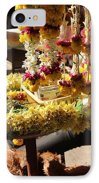 Flowers In The Market, Near Sajjangad 2 IPhone Case by Jennifer Mazzucco