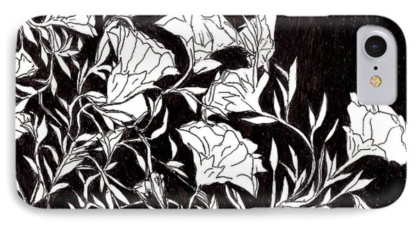 IPhone Case featuring the drawing Flowers by Lou Belcher