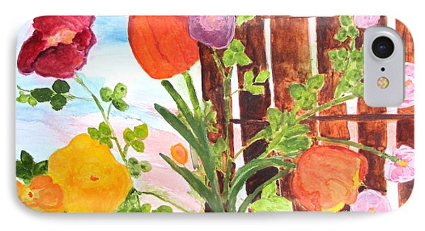 IPhone Case featuring the painting Flowers On A Fence by Sandy McIntire