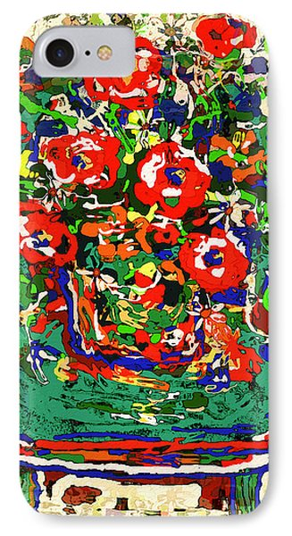 Flowers On Green Chair Phone Case by Natalie Holland