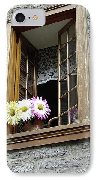 IPhone Case featuring the photograph Flowers On The Sill by John Schneider