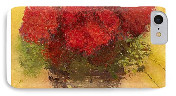 IPhone Case featuring the mixed media Flowers Red by Marlene Book