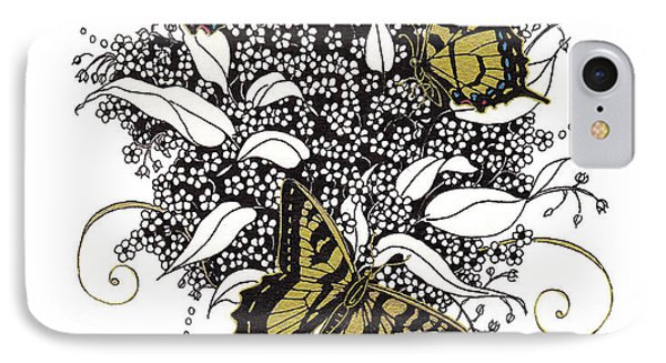 IPhone Case featuring the drawing Flowers That Flutter by Stanza Widen