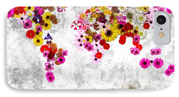 Flowers World Map IPhone Case