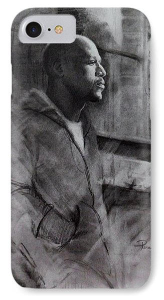 IPhone Case featuring the drawing Reflections Of Floyd Mayweather by Noe Peralez