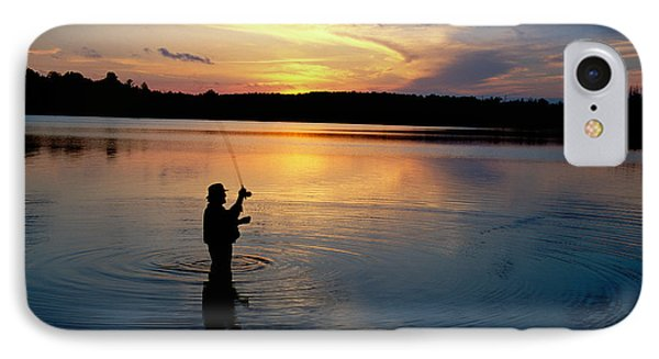 Fly-fisherman Silhouetted By Sunrise IPhone Case by Panoramic Images