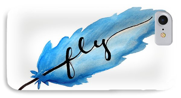 Fly Watercolor Feather Horizontal IPhone Case by Michelle Eshleman