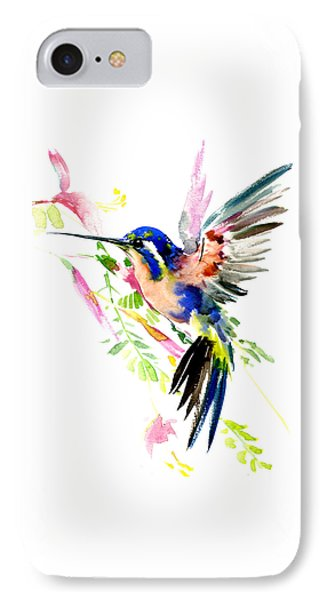 Flying Hummingbird Ltramarine Blue Peach Colors IPhone Case