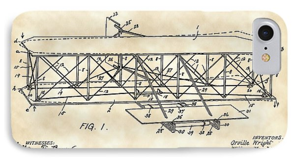 Flying Machine Patent 1903 - Vintage IPhone Case by Stephen Younts