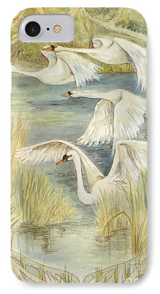 Flying Swans IPhone Case by Morgan Fitzsimons