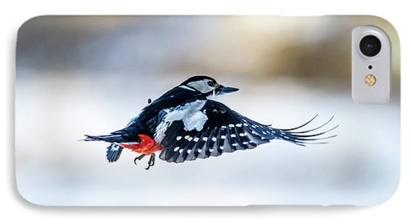 IPhone Case featuring the photograph Flying Woodpecker by Torbjorn Swenelius
