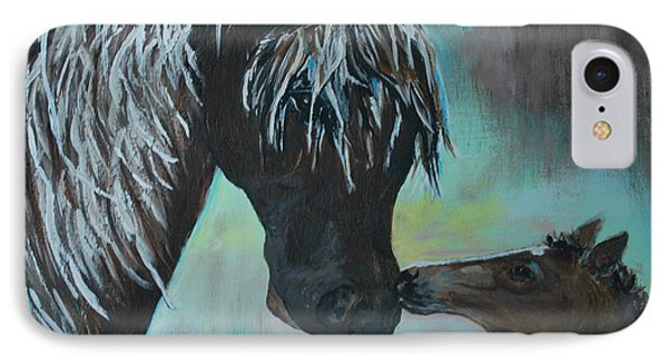 IPhone Case featuring the painting Foal Kiss by Leslie Allen