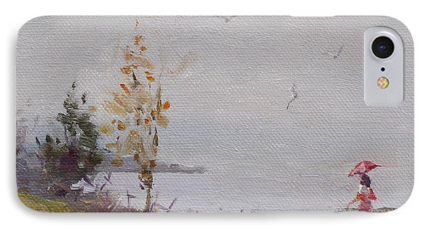 Seagull iPhone 7 Case - Fog And Rain At Gratwick Waterfront Park by Ylli Haruni