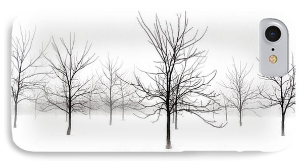 Fog And Winter Black Walnut Trees  IPhone Case by Angie Rea