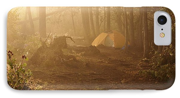 IPhone Case featuring the photograph Foggy Morning At The Campsite by Larry Ricker