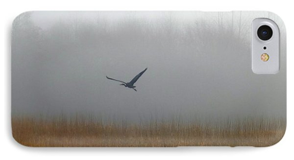 Foggy Morning Heron In Flight Phone Case by Helen Campbell