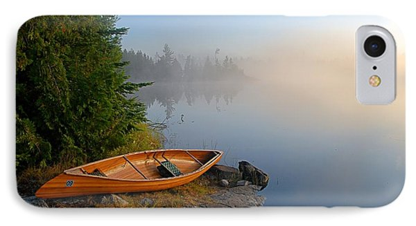 Landscapes iPhone 7 Case - Foggy Morning On Spice Lake by Larry Ricker