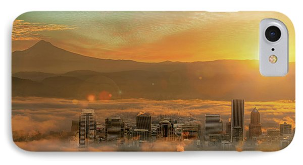 Foggy Morning Over Portland Cityscape During Sunrise Phone Case by David Gn