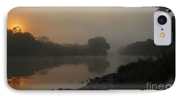 IPhone Case featuring the photograph Foggy Morning Red River Of The North by Steve Augustin