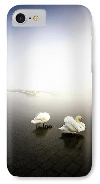 Foggy Morning View Near Bridge With Two Swans At Vltava River, Prague, Czech Republic IPhone Case