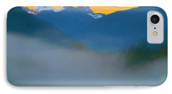 Foggy Sunrise Over The North Cascades IPhone Case by Dan Sproul